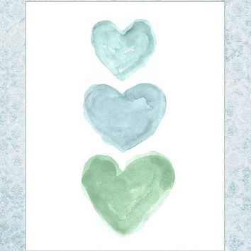 Celadon Nursery Art,  Mint and Blue Nursery Art,  Aqua and Mint Nursery Art,  Mint Nursery Art, French Blue Nursery, 8x10 Watercolor Print