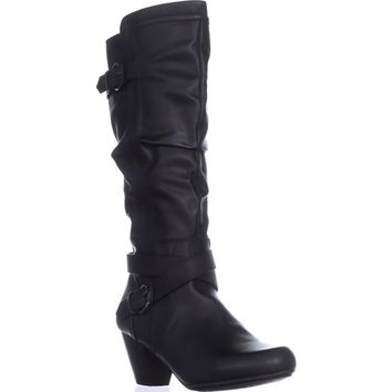 Rialto Crystal Knee High Slouch Boots, Black, 9.5 US
