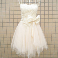 A-line Sweetheart Sleeveless Short/Mini Satin Tulle Fashion Prom Dresses/Wedding Dress/Cocktail Dress With Beading Bowknot