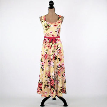 Yellow Floral Summer Dress Women Medium Sleeveless Maxi Linen Long Dress Size 8 Dress Coldwater Creek Vintage Clothing Womens Clothing