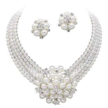 Statement Look White Pearl Cluster Bridal Necklace Set CLIP ON Earring Silver Tone