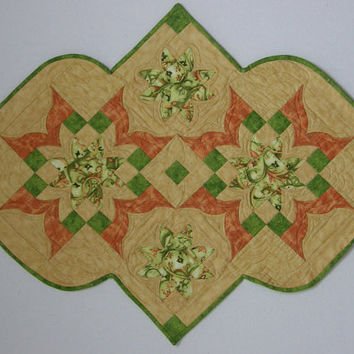 Quilted Table Runner Green and Orange