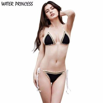 WATER PRINCESS 2017 Women Ladies Handmade Crochet Beach Swimsuit Knitted Bikini Set Swimwear tankini HL1079