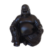 Chalkboard Buddha Statue, Zen Figurine, Asian Art, Spiritual, Black Home Decor, Smiling Buddha