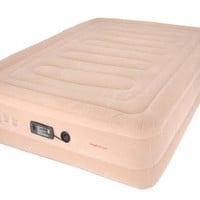 SimplySleeper FL-89Q Raised Inflatable Mattress w/ Flocked Top & Side Material - NEW! Built-in Auto-Stop Electric Pump and Sure Grip Bottom (Includes Travel bag and Repair Kit)
