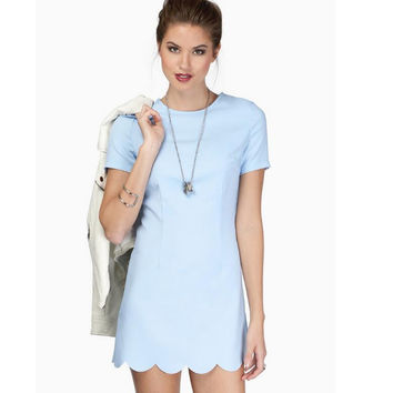 Wavy Hem Short Sleeve Mini Dress