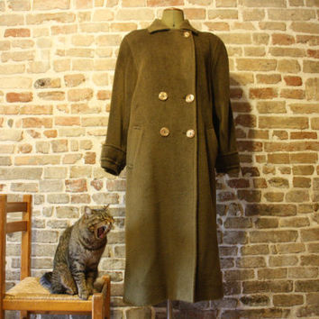 Vintage wool coat, Italian alpaca and wool outwear, 80s fashion
