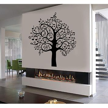 Vinyl Wall Decal Musical Tree Notes Home Interior Room Stickers Unique Gift (ig3837)