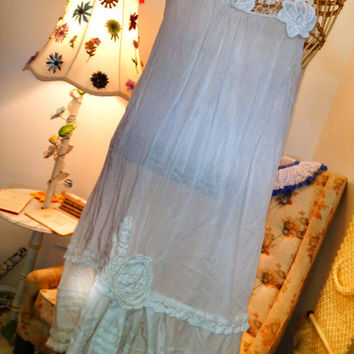 Gypsy Lagenlook layer prairie fairy victorian vintage style tunic/dress size large
