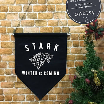 House Stark banner flag and hanging device, Winter Is Coming wall banner flag, wall hanging decoration funny gifts Game of Thrones Tumblr