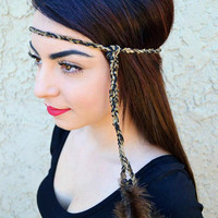 Brown Feather Headband #B1001