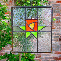 FRESH FRUIT Art Deco Stained Glass, lime and orange Craftsman panel