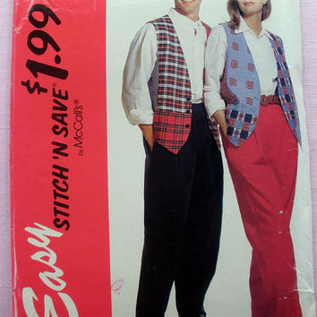 Women's, Men's or Teens Lined Vest and Pants Size Medium, Large, X-Large McCall's Stitch 'N Save 6079 Sewing Pattern Uncut