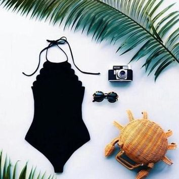 LMFONV SEXY FASHION SCALLOPED ONE PIECE BIKINIS SWIMSUIT BATHSUIT