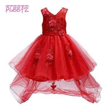 Retail Appliques Tassel Kid Girls Summer Evening Prom Trailing Dress With Belt Sequined Dot Tiered Girl Wedding Party Dress T426