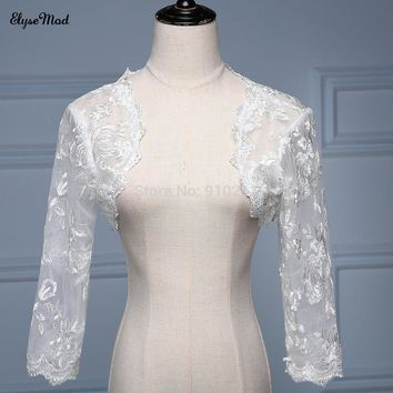 2017 Bridal wedding lace 3/4 sleeves BOLERO lace jacket WEDDING  jackets Bride