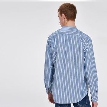Cotton Shirt Men Long Sleeve Blue White Stripe Casual Shirt Male Stand Collar