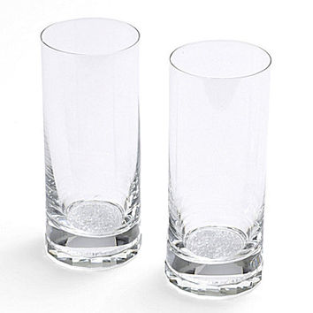 Oleg Cassini Crystal Diamond Highball Glasses, Set of 2