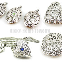 Fashion antique silver round shape essential oil diffuser necklace jewellery aromatherapy women perfume diffuser locket