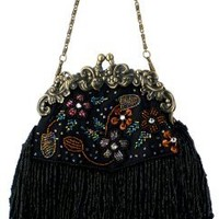 MG Collection Vintage Seed Bead Flowers / Tassles Flapper Evening Clutch Handbag