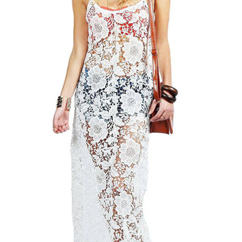 Crochet Lace Beach Cover Up Maxi Dress