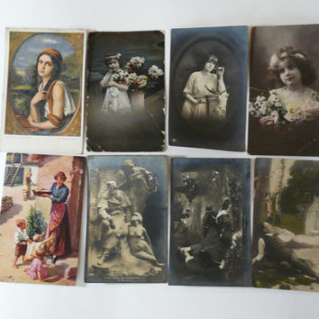 Vintage set of 8 Bulgarian post card 1907 s Good Condition postcard - USED