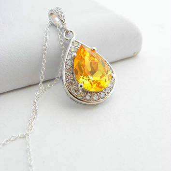 Yellow Swarovski Necklace Sunflower Teardrop Sterling Silver Canary Yellow Wedding Bridesmaid Jewelry Prom Pendant Cubic Zirconia Crystal