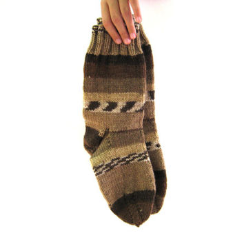 Hand knit socks for man, wool socks,warm and cozy home, made from natural wool yarn