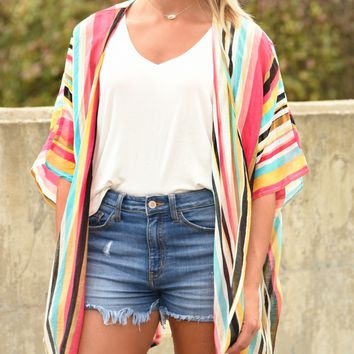Living A Dream Striped Kimono