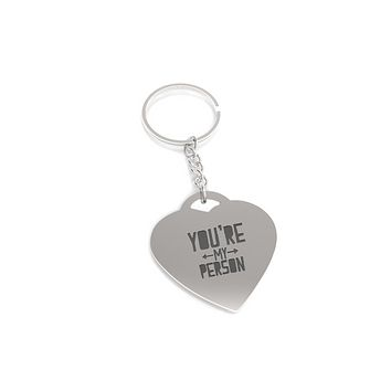 You are My Person Both Side Arrow Key Chain Heart Shaped Key Ring Gift
