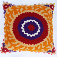 Suzani Cushion Cover Handmade Woolen Embroidery Christmas Decor Colorful Rangoli Designs Pillow Case With Pom Poms Indian Decorative Pillows