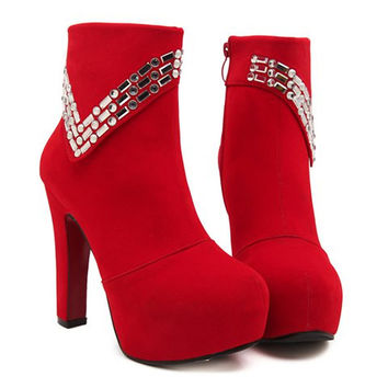 Suede and Rhinestones Design High Heel Boots