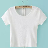 White Scoop Neckline Zip Up Crop Top