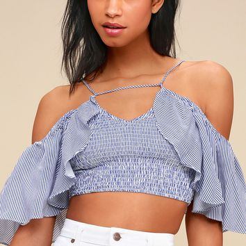 Stripe Right Up Blue and White Striped Off-the-Shoulder Top