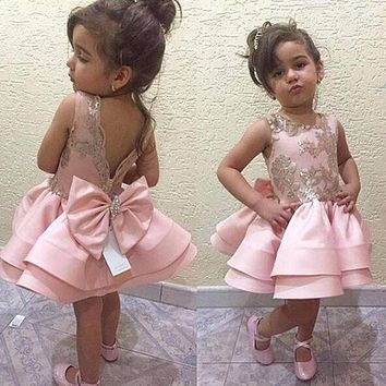 Pink 2017 Pageant Dress Kids Ball Gown Scoop Knee Length Satin Lace Bow Flower Girl Dresses for Weddings Prom Dress Children