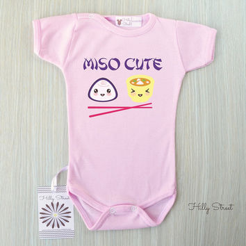 Miso Cute Baby Bodysuit. Cool Baby Gift. Baby Miso Cute Romper. Japanese Sushi Smart Baby Shower Gift. Cute Funny Stocking Stuffer.