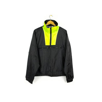 80s OCEAN PACIFIC windbreaker jacket - vintage OP 1980s 1990s - black + neon colorblock - 90s surfer - vaporwave - pullover - medium - large