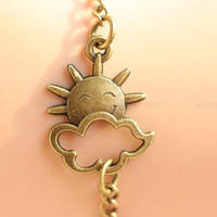 Sun bracelet , smile sun with cloud bracelet , retro bronze cute cloud bracelet.