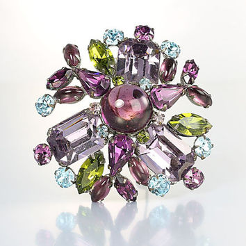 Amethyst Peridot rhinestone Brooch. Unsigned Schreiner Purple Blue Green layered Design