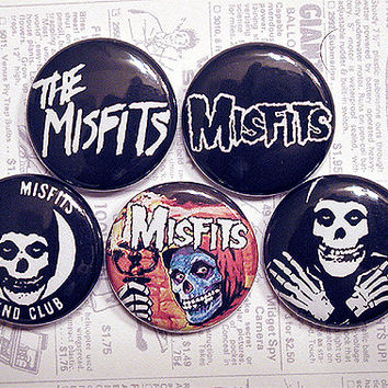 "THE MISFITS 1"" pinback button set (1970s, Punk Rock)"