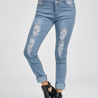 Low Rise Distressed Cuffed Jeans