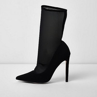 Black pointed mesh sock court boots - Shoes - Shoes & Boots - women