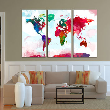 Wall Art Canvas Print - Watercolor World Map Art - Watercolor 3 Panel World Map Print on Canvas, Framed and Streched, Ready to Hanging