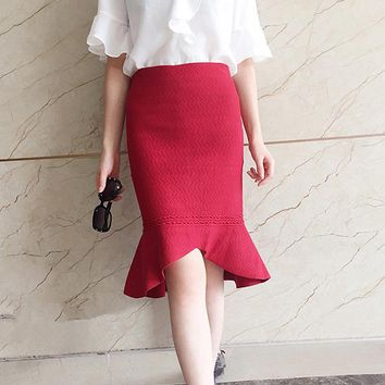 Slim high waist knit elastic irregular lotus leaf fishtail skirt Red