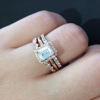 CZ Wedding Set, Style 11-64 feat The Januari Engagement Ring (2 CT Emerald Cut) Plus Matching Ring Guard