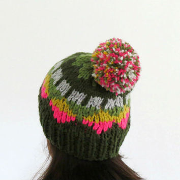 Pom Pom Beanie, Chunky Hat, Knitted Beanie, Triangle Pattern, Colorful Knit Hat, Women Fair Isle Beanie, Winter Hat, Fall Fashion, Teens Hat