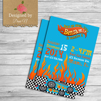Hot wheels Birthday Invitation, Hotwheels invite, cars party, first birthday, transportation, race cars, printable karts