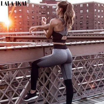 Women Yoga Fitness Sports Sets Gym Workout Sportswear 2 Pieces Set Tracksuits Bra+Yoga Pants Sport Leggings Suits KWP0059-5