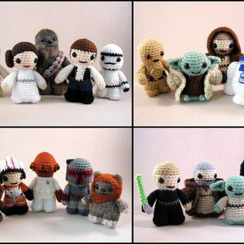 PDFs of Set 1 of Star Wars Mini Amigurumi Patterns - includes 14 crochet patterns