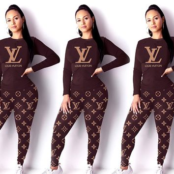 Free shipping-LV classic old flower women's wild sports suit two-piece